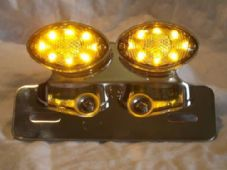LED rear light stop tail light cat eye double, chrome with integral indicators